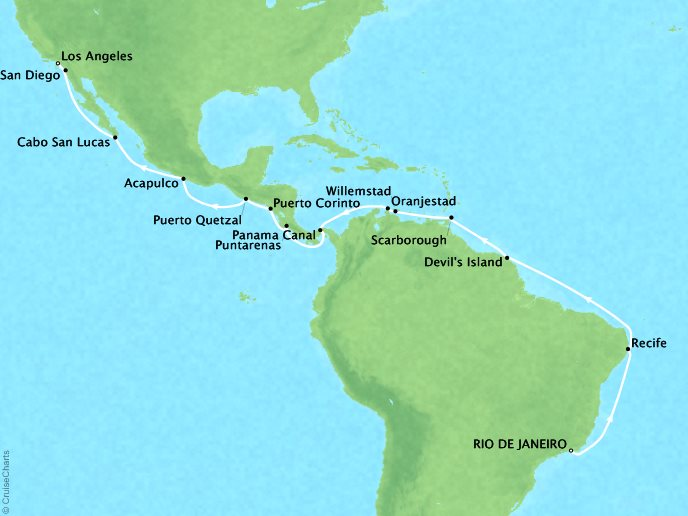 Cruises Regent Seven Seas Navigator Map Detail Rio De Janeiro, Brazil to Los Angeles, CA, United States April 30 May 25 2018 - 26 Days