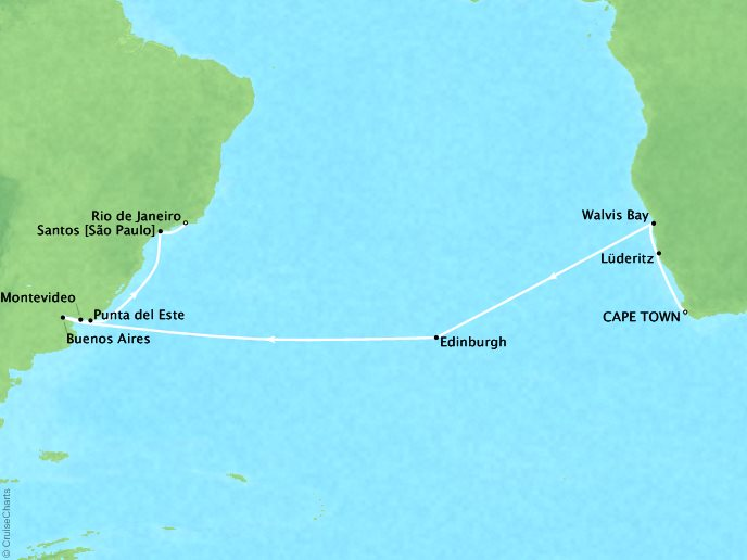 REGENT Cruises Regent Seven Seas Navigator Map Detail Cape Town, South Africa to Rio De Janeiro, Brazil April 7-30 2018 - 23 Days