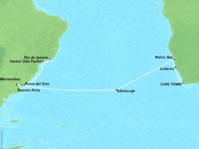 Regent/Radisson Luxury Cruises Regent  Navigator Map Detail Cape Town, South Africa to Rio De Janeiro, Brazil April 7-30 2018 - 23 Days