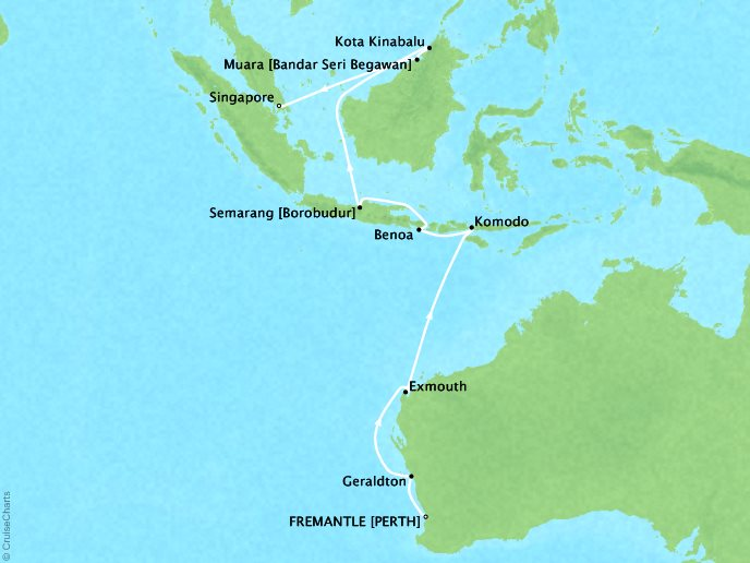 Cruises Regent Seven Seas Navigator Map Detail Fremantle, Australia to Singapore, Singapore February 25 March 13 2018 - 17 Days