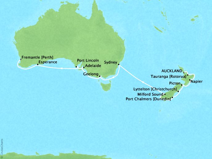 Regent/Radisson Luxury Cruises Regent  Navigator Map Detail Auckland, New Zealand to Fremantle, Australia February 6-25 2022 - 19 Days