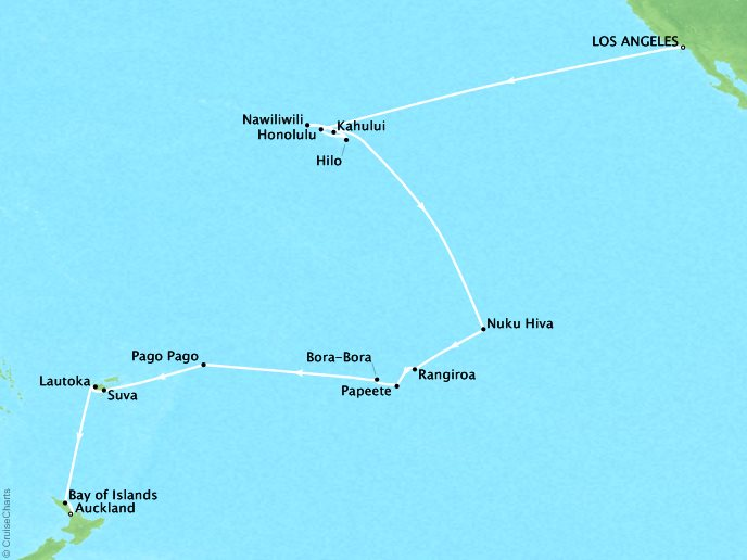 Just Regent Cruises Cruises Regent Seven Seas Navigator Map Detail Los Angeles, CA, United States to Auckland, New Zealand January 8 February 6 2018 - 30 Days