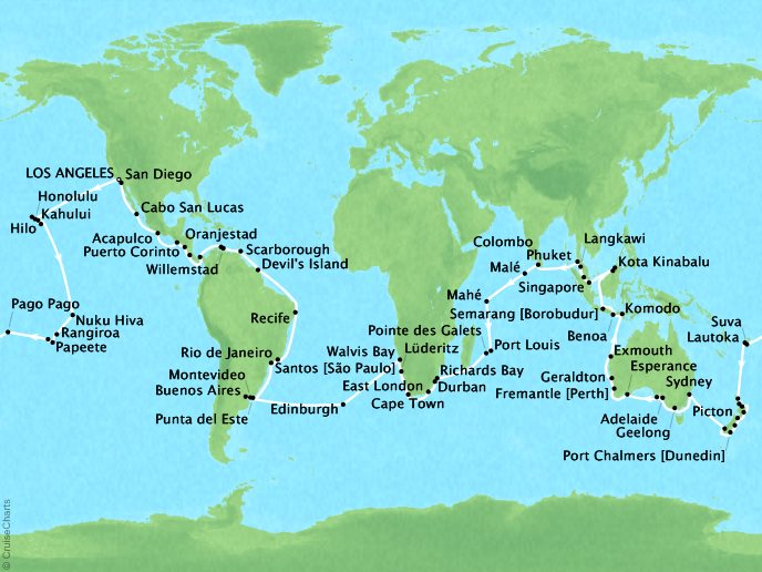 Just Regent Cruises Cruises Regent Seven Seas Navigator Map Detail Los Angeles, CA, United States to Los Angeles, CA, United States January 8 May 25 2018 - 138 Days