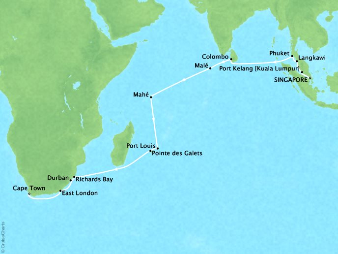 Cruises Regent Seven Seas Navigator Map Detail Singapore, Singapore to Cape Town, South Africa March 13 April 7 2018 - 26 Days