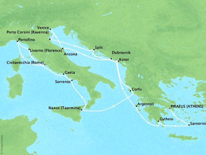 Cruises Regent Seven Seas Navigator Map Detail Athens (Piraeus), Greece to Rome (Civitavecchia), Italy September 26 October 13 2016 - 17 Days