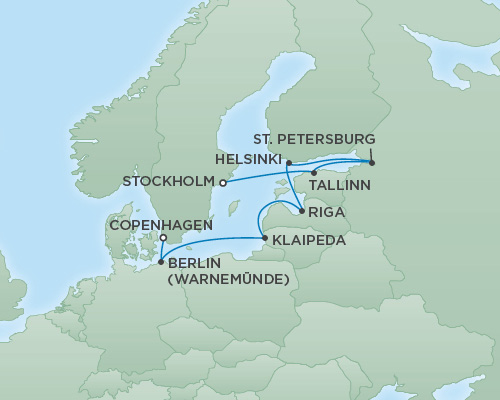 Just Regent Cruises Cruises RSSC Regent Seven Explorer Map Detail Stockholm, Sweden to Copenhagen, Denmark August 24 September 3 2020 - 10 Days