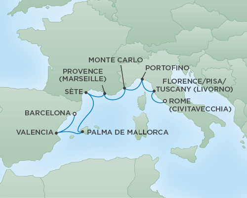 Just Regent Cruises Cruises RSSC Regent Seven Explorer Map Detail Barcelona, Spain to Rome (Civitavecchia), Italy April 23 May 1 2018 - 7 Days