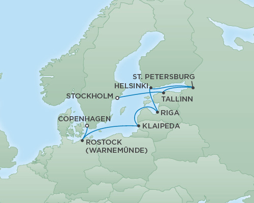 REGENT Cruises RSSC Regent Seven Explorer Map Detail Stockholm, Sweden to Copenhagen, Denmark August 4-14 2018 - 10 Days