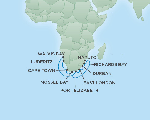 REGENT Cruises RSSC Regent Seven Explorer Map Detail Cape Town, South Africa to Cape Town, South Africa December 22 2021 January 6 2019 - 15 Days