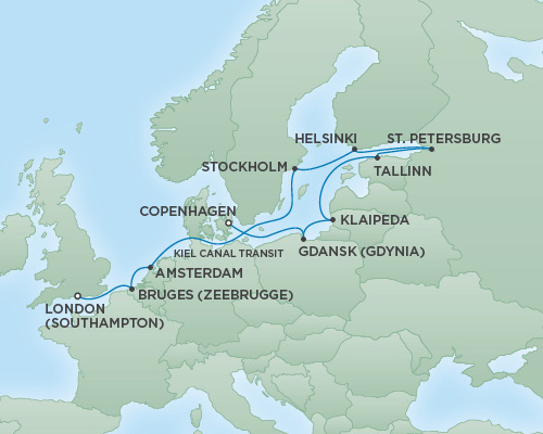 REGENT Cruises RSSC Regent Seven Explorer Map Detail London (Southampton), England to Copenhagen, Denmark July 16-28 2018 - 12 Days