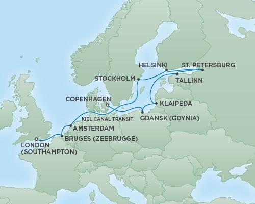 Regent/Radisson Luxury Cruises RSSC Regent Seven Explorer Map Detail London (Southampton), England to Copenhagen, Denmark July 16-28 2022 - 12 Days