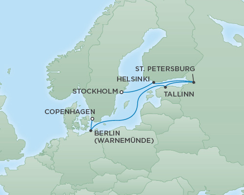Cruises RSSC Regent Seven Explorer Map Detail Copenhagen, Denmark to Stockholm, Sweden July 28 August 4 2018 - 7 Days