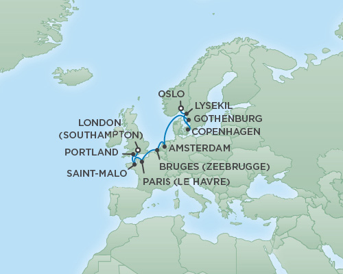 Cruises RSSC Regent Seven Explorer Map Detail Oslo, Norway to London (Southampton), England July 6-16 2018 - 10 Days