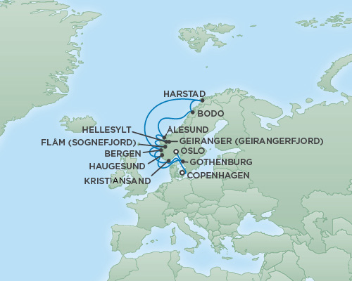 REGENT Cruises RSSC Regent Seven Explorer Map Detail Copenhagen, Denmark to Oslo, Norway June 24 July 6 2018 - 12 Days