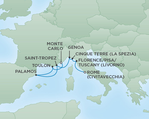 Cruises RSSC Regent Seven Explorer Map Detail Rome (Civitavecchia), Italy to Monte Carlo, Monaco May 1-8 2018 - 7 Days