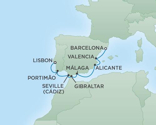 Regent/Radisson Luxury Cruises RSSC Regent Seven Explorer Map Detail Barcelona, Spain to Lisbon, Portugal May 15-22 2022 - 7 Days