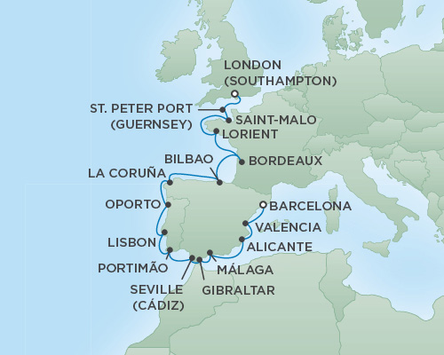 Cruises RSSC Regent Seven Explorer Map Detail Barcelona, Spain to London (Southampton), England May 15-31 2018 - 16 Days