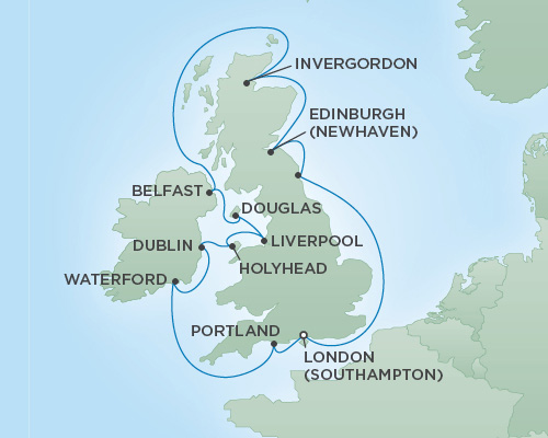 Cruises RSSC Regent Seven Explorer Map Detail London (Southampton), England to London (Southampton), England May 31 June 12 2018 - 12 Days