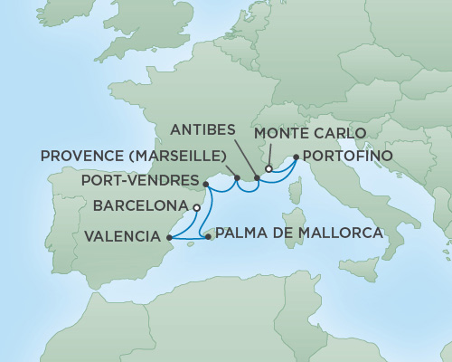 Regent/Radisson Luxury Cruises RSSC Regent Seven Explorer Map Detail Monte Carlo, Monaco to Barcelona, Spain May 8-15 2022 - 7 Days