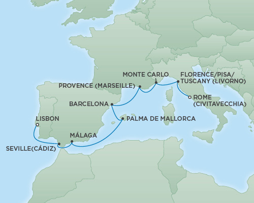REGENT Cruises RSSC Regent Seven Explorer Map Detail  Rome (Civitavecchia), Italy to Lisbon, Portugal November 18-282018 - 10 Days