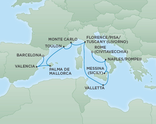 Cruises RSSC Regent Seven Explorer Map Detail Barcelona, Spain to Rome (Civitavecchia), Italy November 8-18 2018 - 10 Days