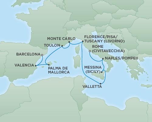 REGENT Cruises RSSC Regent Seven Explorer Map Detail Barcelona, Spain to Rome (Civitavecchia), Italy November 8-18 2018 - 10 Days