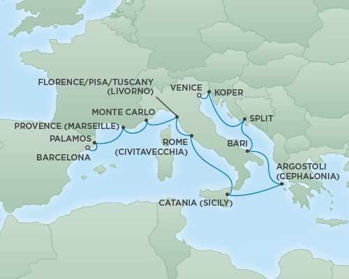 Cruises RSSC Regent Seven Explorer Map Detail Venice, Italy to Barcelona, Spain October 17-29 2018 - 12 Days