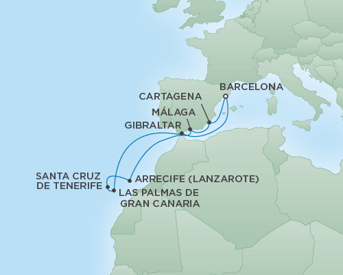 REGENT Cruises RSSC Regent Seven Explorer Map Detail Barcelona, Spain to Barcelona, Spain October 29 November 8 2018 - 10 Days