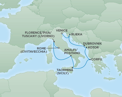 REGENT Cruises RSSC Regent Seven Explorer Map Detail Rome (Civitavecchia), Italy to Venice, Italy October 7-17 2018 - 10 Days