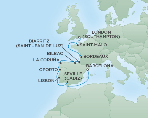 Cruises RSSC Regent Seven Explorer Map Detail London (Southampton), England to Barcelona, Spain September 15-27 2018 - 12 Days