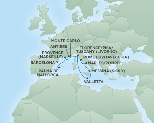 Just Regent Seven Seas Cruises Cruises RSSC Regent Seven Explorer Map Detail Barcelona, Spain to Rome (Civitavecchia), Italy September 27 October 7 2020 - 10 Days