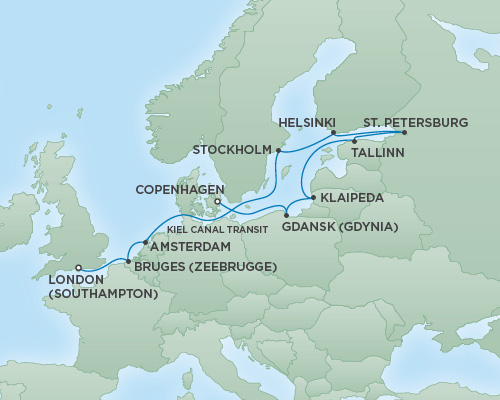Regent/Radisson Luxury Cruises RSSC Regent Seven Explorer Map Detail Copenhagen, Denmark to London (Southampton), England September 3-15 2018 - 12 Days