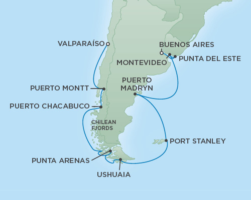 Just Regent Cruises Cruises RSSC Regent Seven Explorer Map Detail Buenos Aires, Argentina to Valparaíso, Chile February 1-17 2019 - 16 Days