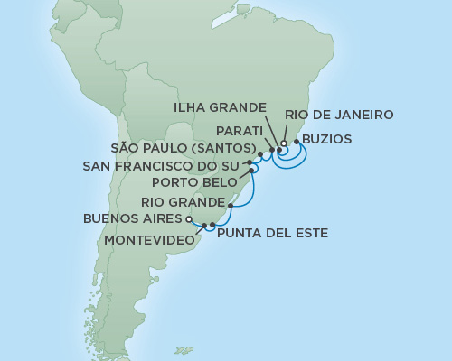 REGENT Cruises RSSC Regent Seven Explorer Map Detail Rio de Janeiro, Brazil to Buenos Aires, Argentina January 20 February 1 2019 - 12 Days