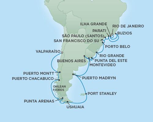 Regent/Radisson Luxury Cruises RSSC Regent Seven Explorer Map Detail Rio de Janeiro, Brazil to Valparaíso, Chile January 20 February 17 2019 - 14 Days