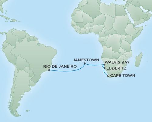 Regent/Radisson Luxury Cruises RSSC Regent Seven Explorer Map Detail Cape Town, South Africa to Rio de Janeiro, Brazil January 6-20 2019 - 14 Days