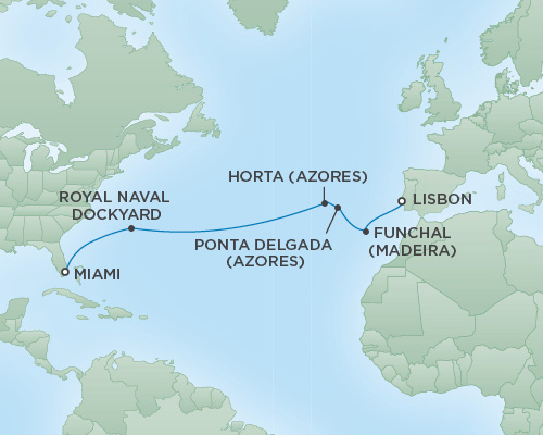 Cruises RSSC Regent Seven Explorer Map Detail Los Angeles, California to Miami, Florida March 25 April 8 2019 - 14 Days