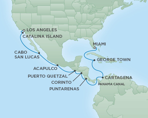 Cruises RSSC Regent Seven Explorer Map Detail Los Angeles, California to Miami, Florida March 9-25 2019 - 16 Days
