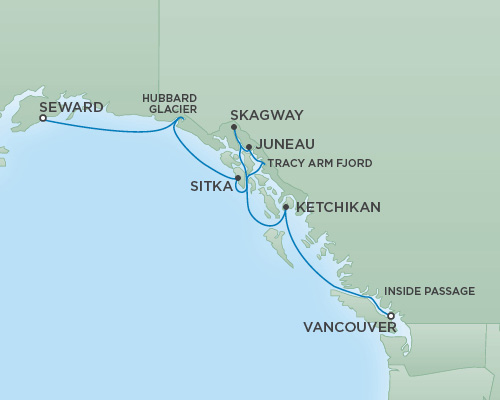 REGENT Cruises RSSC Regent Seven Mariner Map Detail Anchorage (Seward), Alaska to Vancouver, Canada August 1-8 2018 - 7 Days