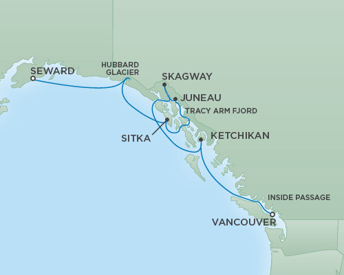 Cruises RSSC Regent Seven Mariner Map Detail Anchorage (Seward), Alaska to Vancouver, Canada August 15-22 2018 - 7 Days