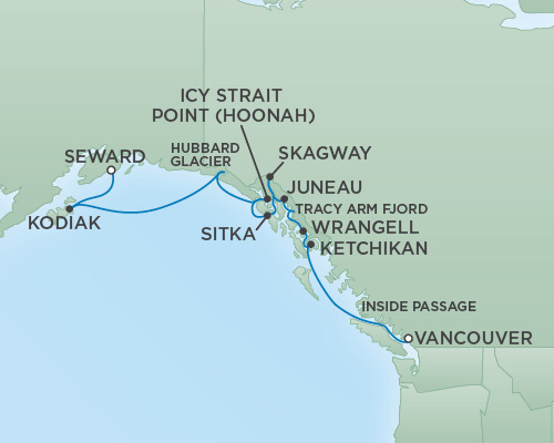 Cruises RSSC Regent Seven Mariner Map Detail Vancouver, Canada to Anchorage (Seward), Alaska August 22 September 2 2018 - 11 Days
