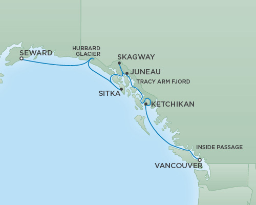 Cruises RSSC Regent Seven Mariner Map Detail Vancouver, Canada to Anchorage (Seward), Alaska August 8-15 2018 - 7 Days