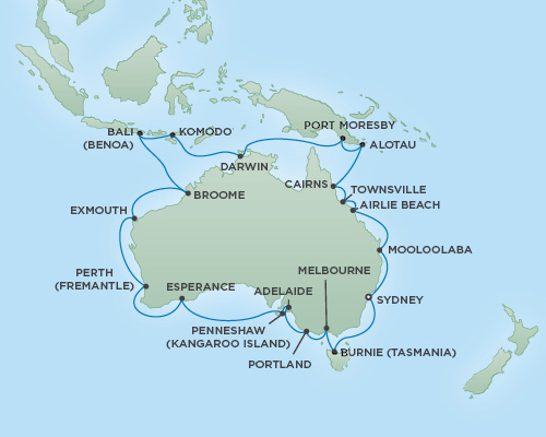 Regent/Radisson Luxury Cruises RSSC Regent Seven Mariner Map Detail Sydney, Australia to Sydney, Australia December 15 2018 January 20 2019 - 36 Days