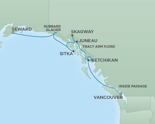 Cruises RSSC Regent Seven Mariner Map Detail Vancouver, Canada to Anchorage (Seward), Alaska July 25 August 1 2018 - 7 Days