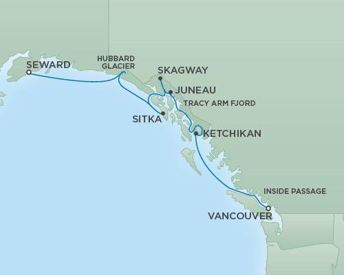 Regent/Radisson Luxury Cruises RSSC Regent Seven Mariner Map Detail Vancouver, Canada to Anchorage (Seward), Alaska July 25 August 1 2018 - 7 Days