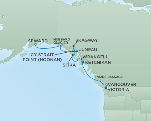 REGENT Cruises RSSC Regent Seven Mariner Map Detail Anchorage (Seward), Alaska to Vancouver, Canada June 20-30 2018 - 10 Days