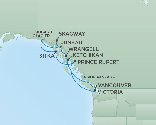 REGENT Cruises RSSC Regent Seven Mariner Map Detail Vancouver, Canada to Vancouver, Canada June 30 July 11 2018 - 11 Days