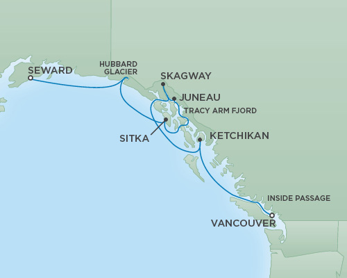 Just Regent Cruises Cruises RSSC Regent Seven Mariner Map Detail Anchorage (Seward), Alaska to Vancouver, Canada June 6-13 2018 - 7 Days