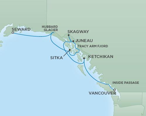 Regent/Radisson Luxury Cruises RSSC Regent Seven Mariner Map Detail Anchorage (Seward), Alaska to Vancouver, Canada June 6-13 2022 - 7 Days