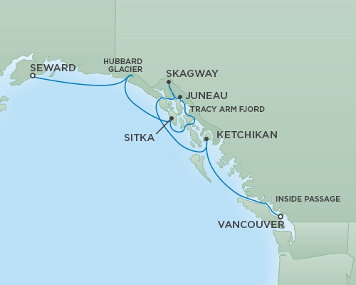 Cruises RSSC Regent Seven Mariner Map Detail Anchorage (Seward), Alaska to Vancouver, Canada May 23-30 2018 - 7 Days